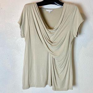 CAbi top short sleeve tan in XL Twist across front